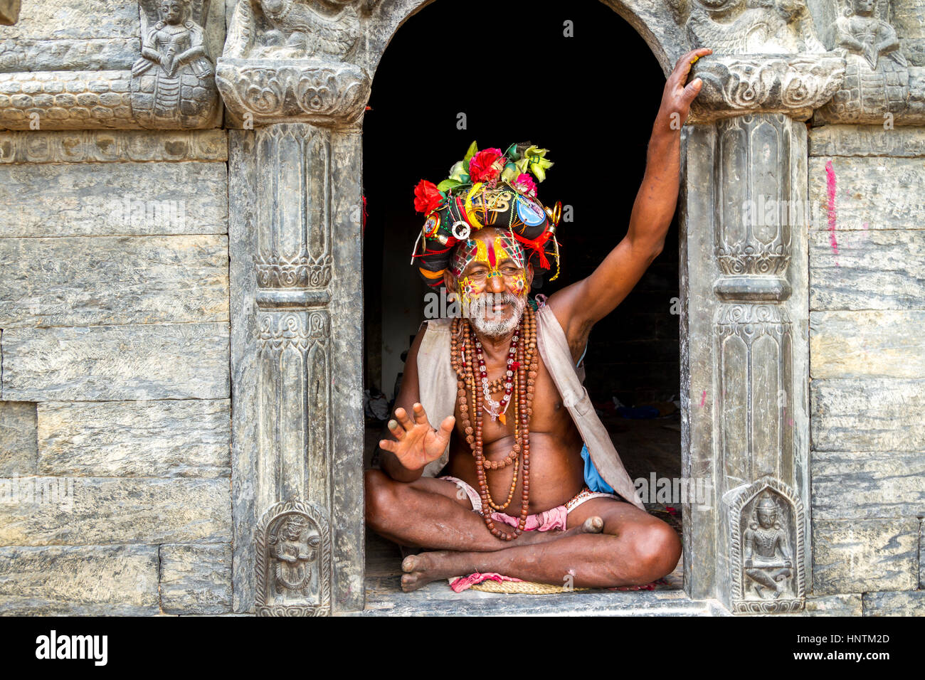 Colourful Sadu in Pashupatinath Temple,Nepal - Stock Image