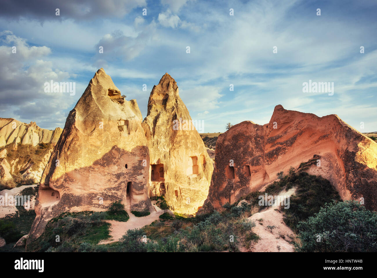Unique geological formations in valley in Cappadocia - Stock Image