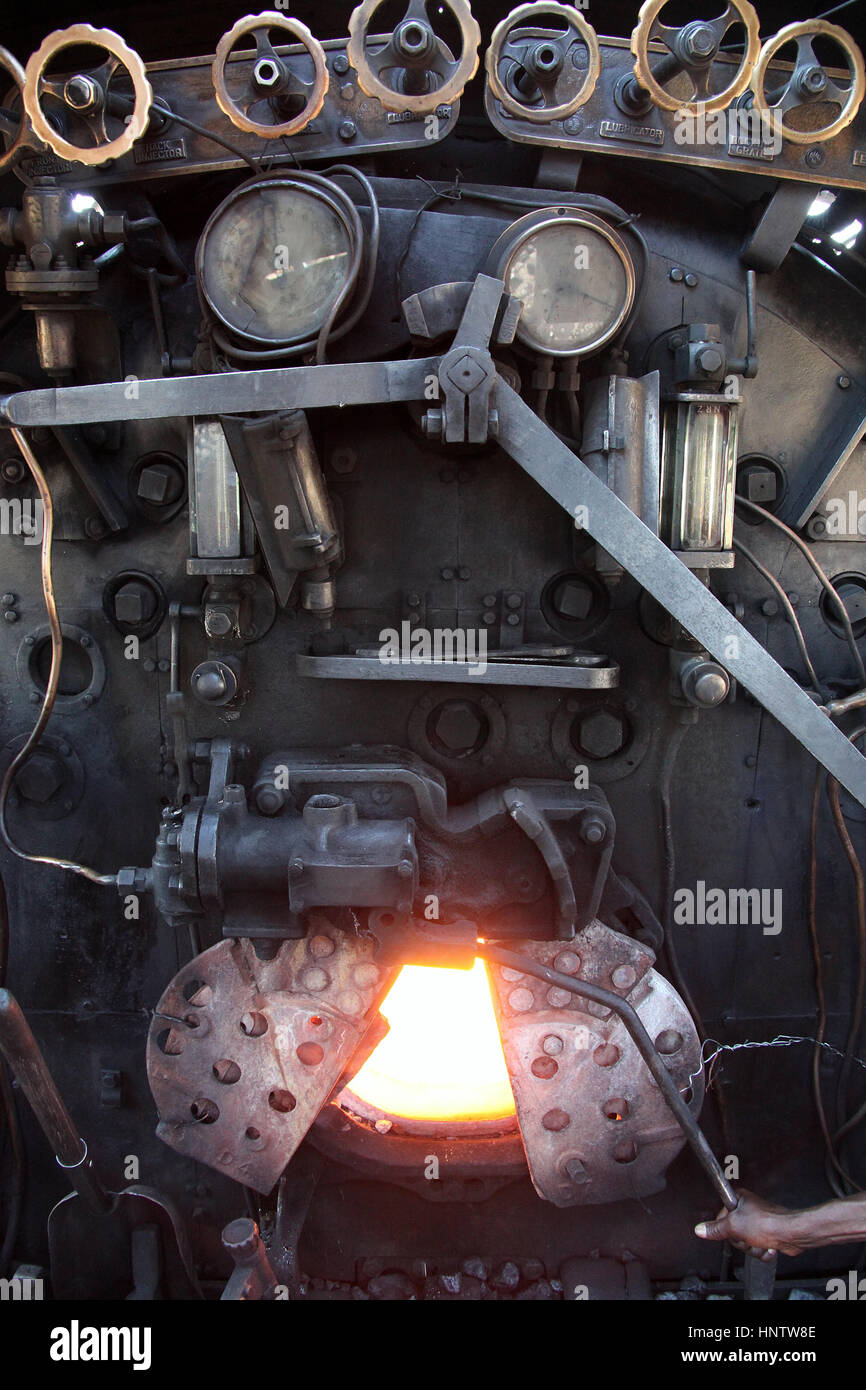 Firebox of a steam train at Victoria Falls in Africa - Stock Image
