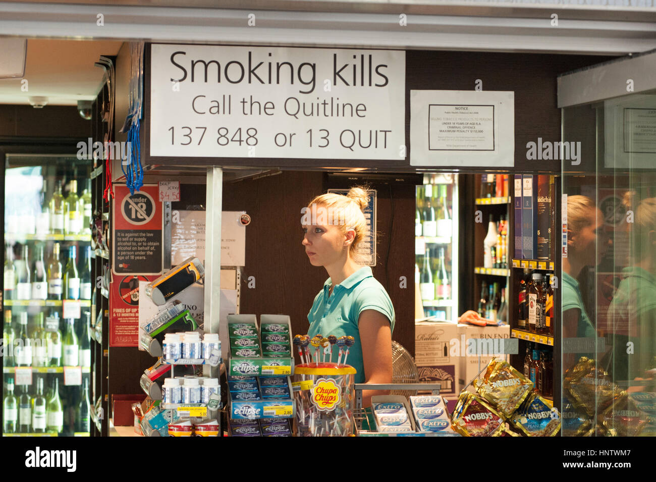 Smoking Kills Signage in Australian convenience shop - Stock Image