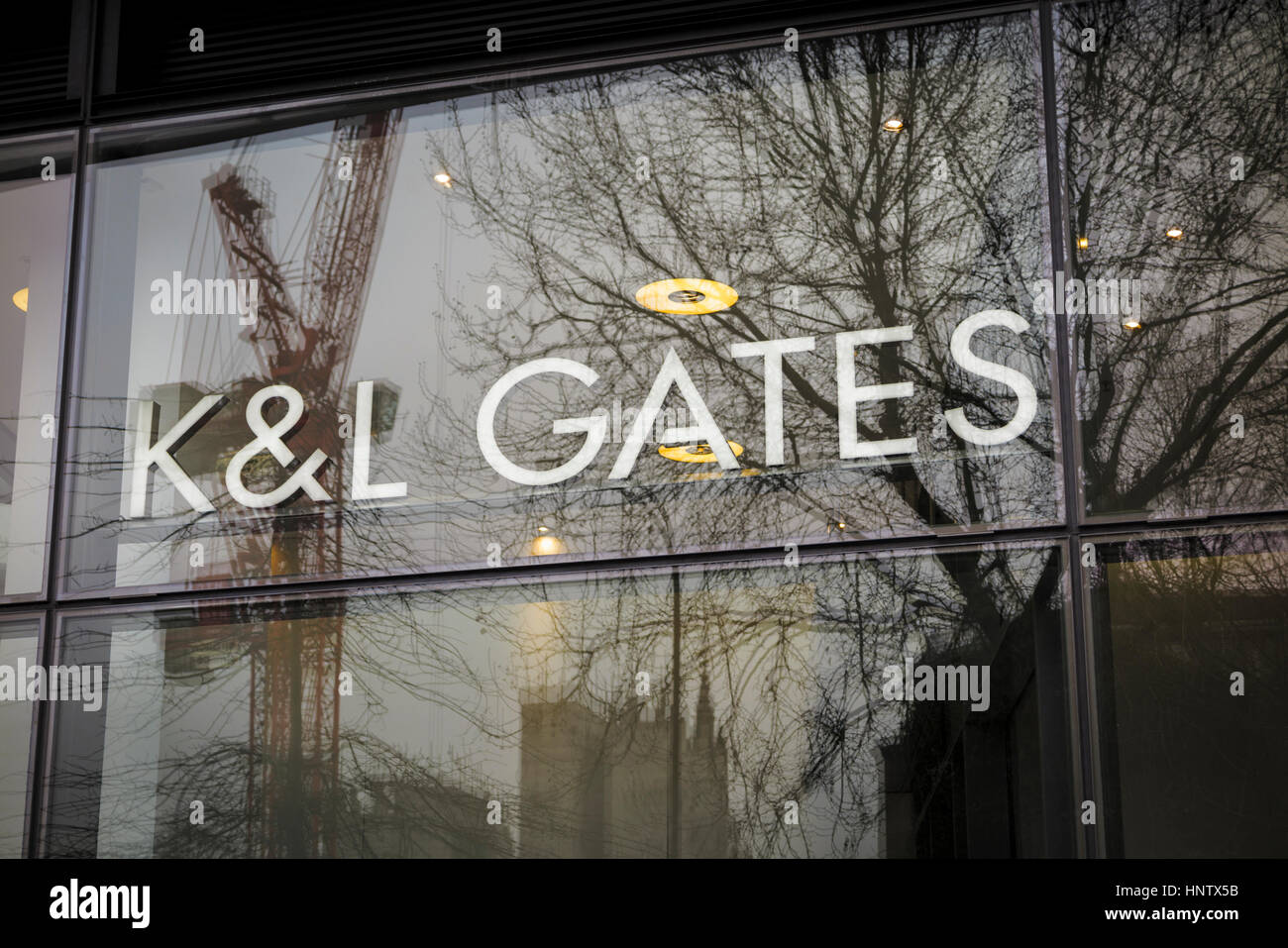 Name sign of international law firm K&L Gates LLP at its London headquarters offices at One New Change London - Stock Image