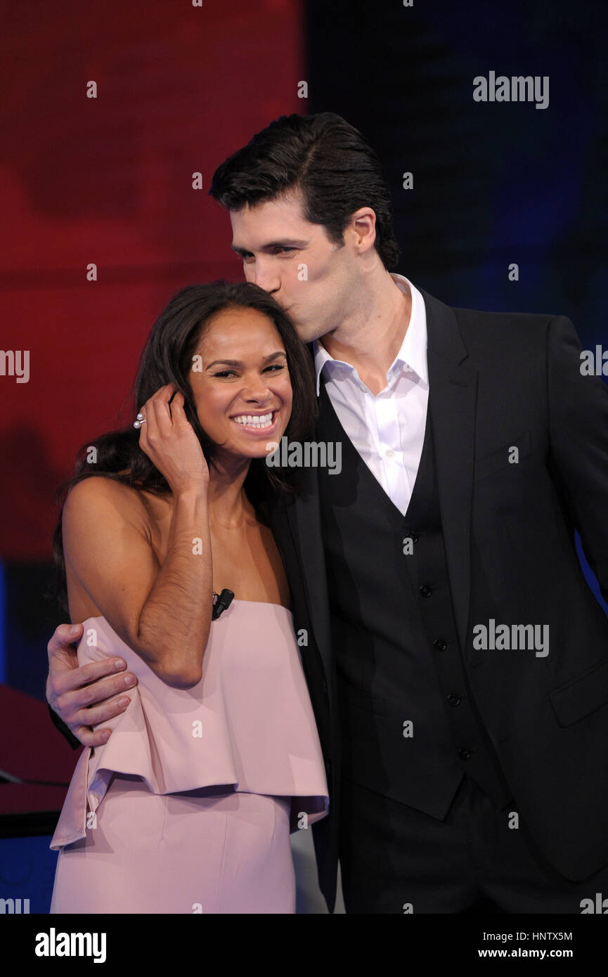 Ballet dancers Misty Copeland and Roberto Bolle appearing on RAI-3 talk show 'Che tempo che fa,' in Milan, - Stock Image