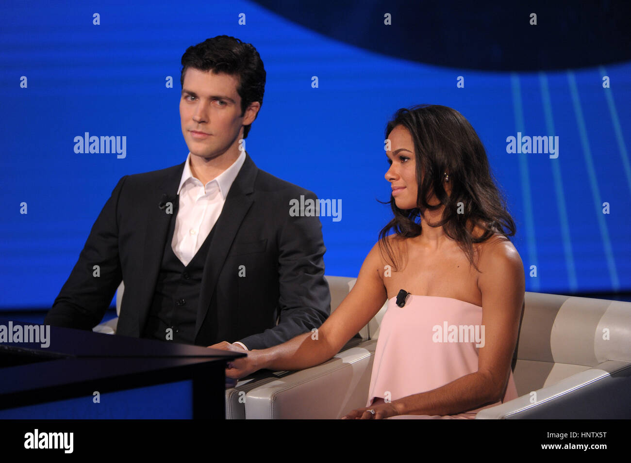 Ballet dancers Roberto Bolle and Misty Copeland appearing on RAI-3 talk show 'Che tempo che fa,' in Milan, - Stock Image