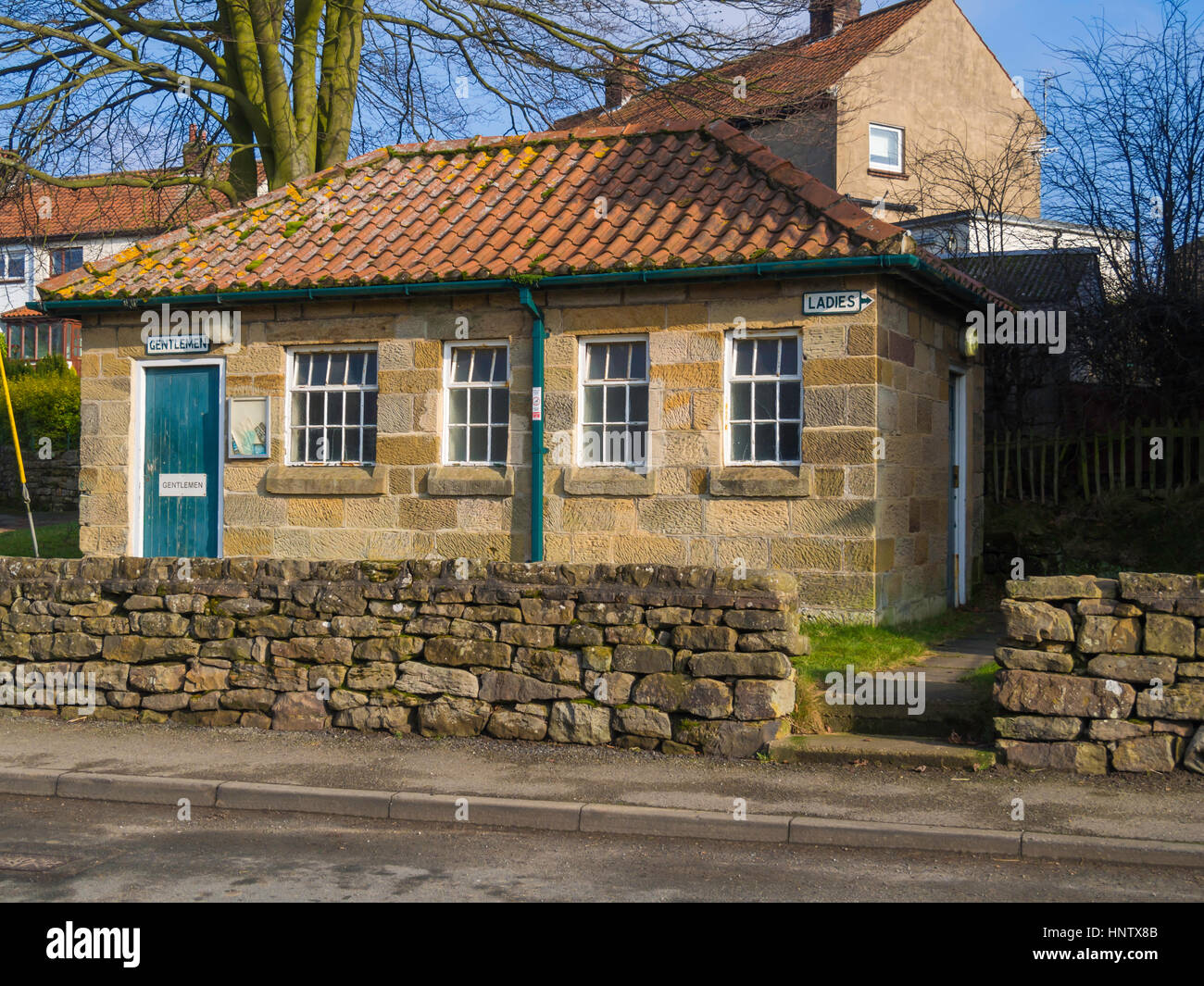 Public Conveniences in the village of Danby  North Yorkshire - Stock Image