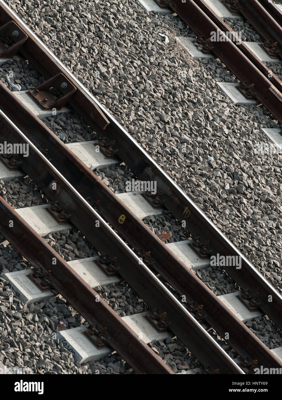 Unique and abstract view of railroad tracks - Stock Image