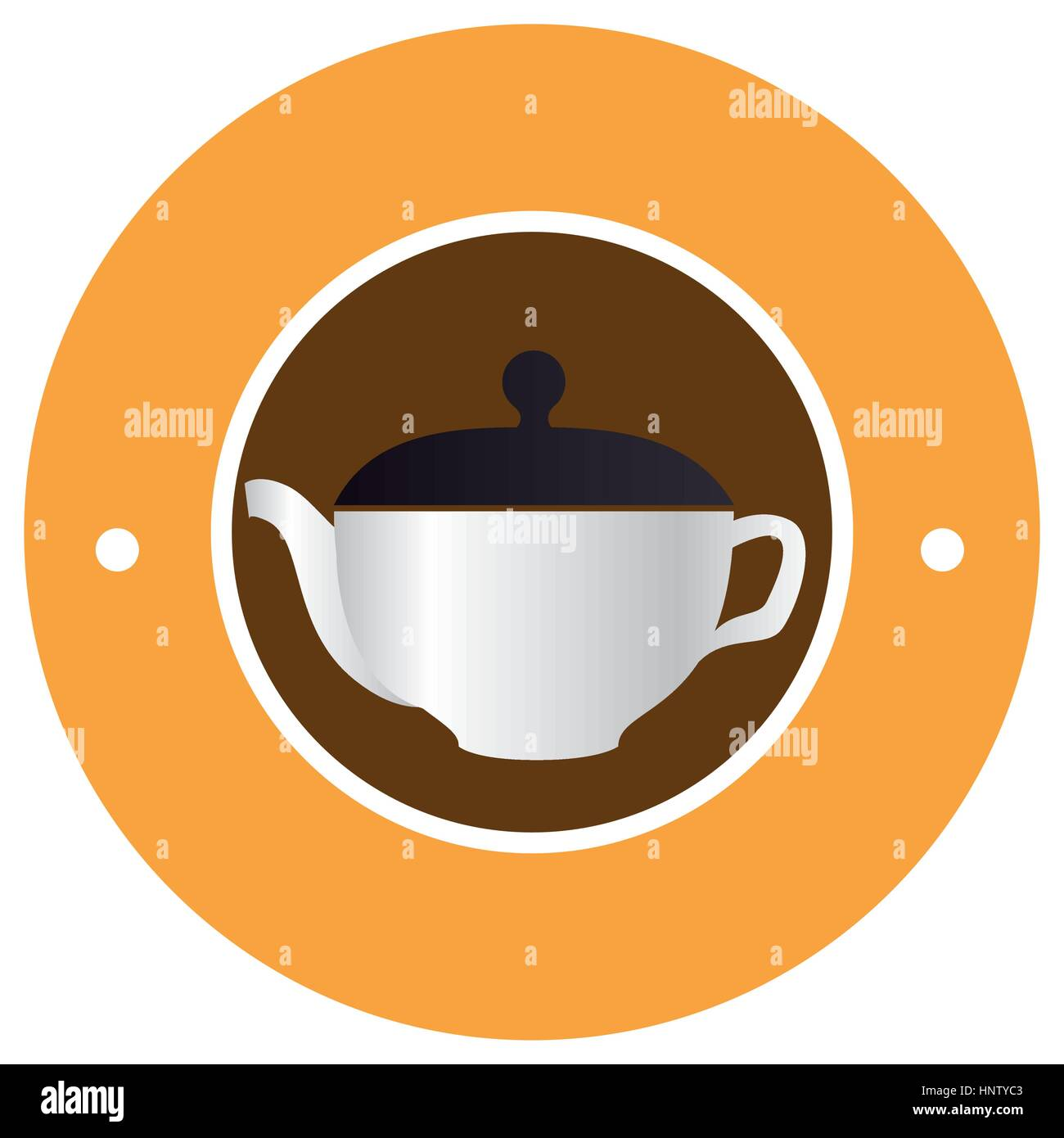 circular border with realistic silhouette with tea kettle vector illustration - Stock Vector