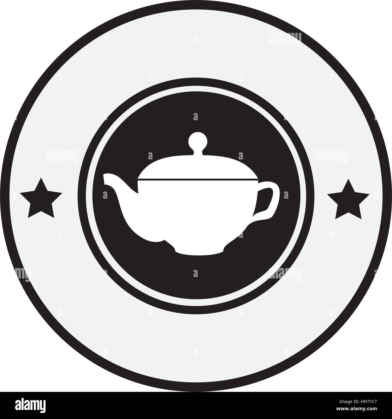 monochrome circular border with silhouette with tea kettle vector illustration - Stock Vector