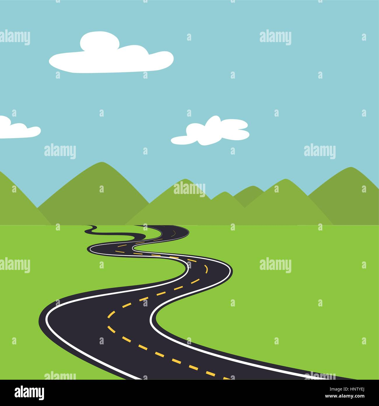 Landscape With Mountains And Road Way Vector Illustration Stock Vector Image Art Alamy
