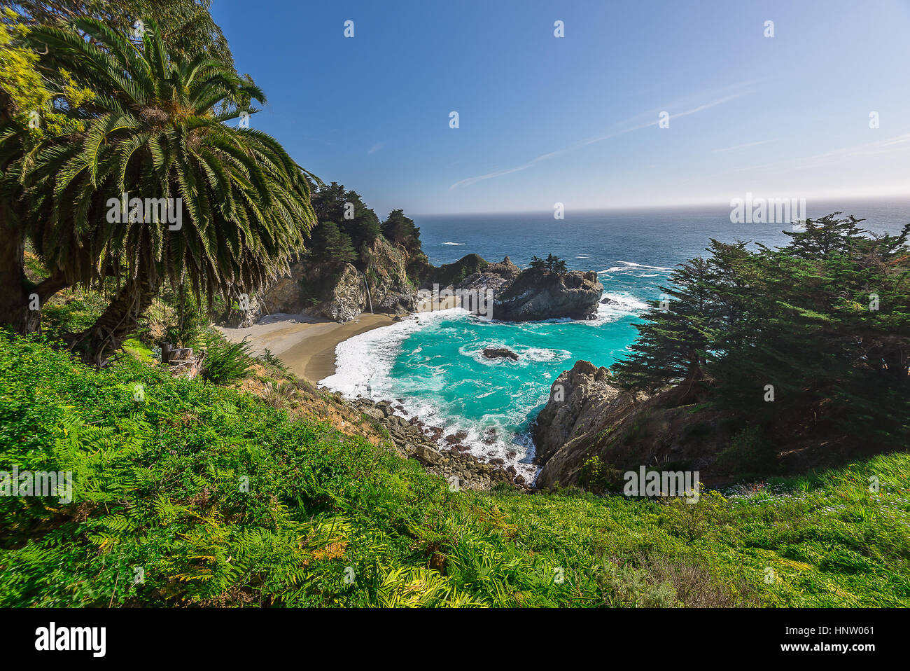 Beautiful landsape of McWay Fall in Big Sur California. Landscape Photography - Stock Image