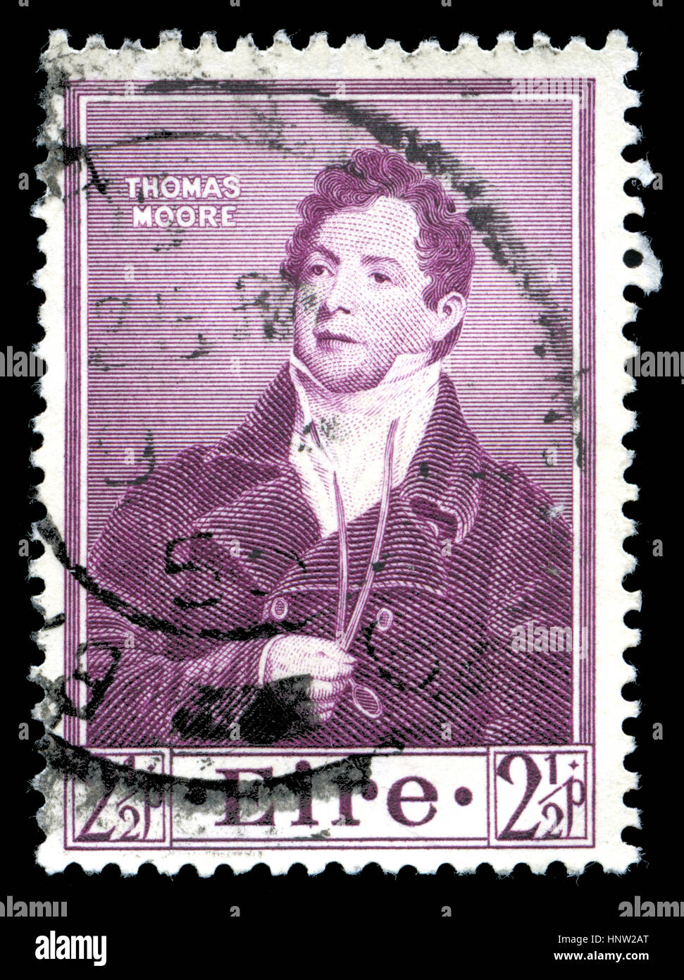 Postmarked stamp from Ireland in the Death Centenary of Thomas Moore series issued in 1952 - Stock Image