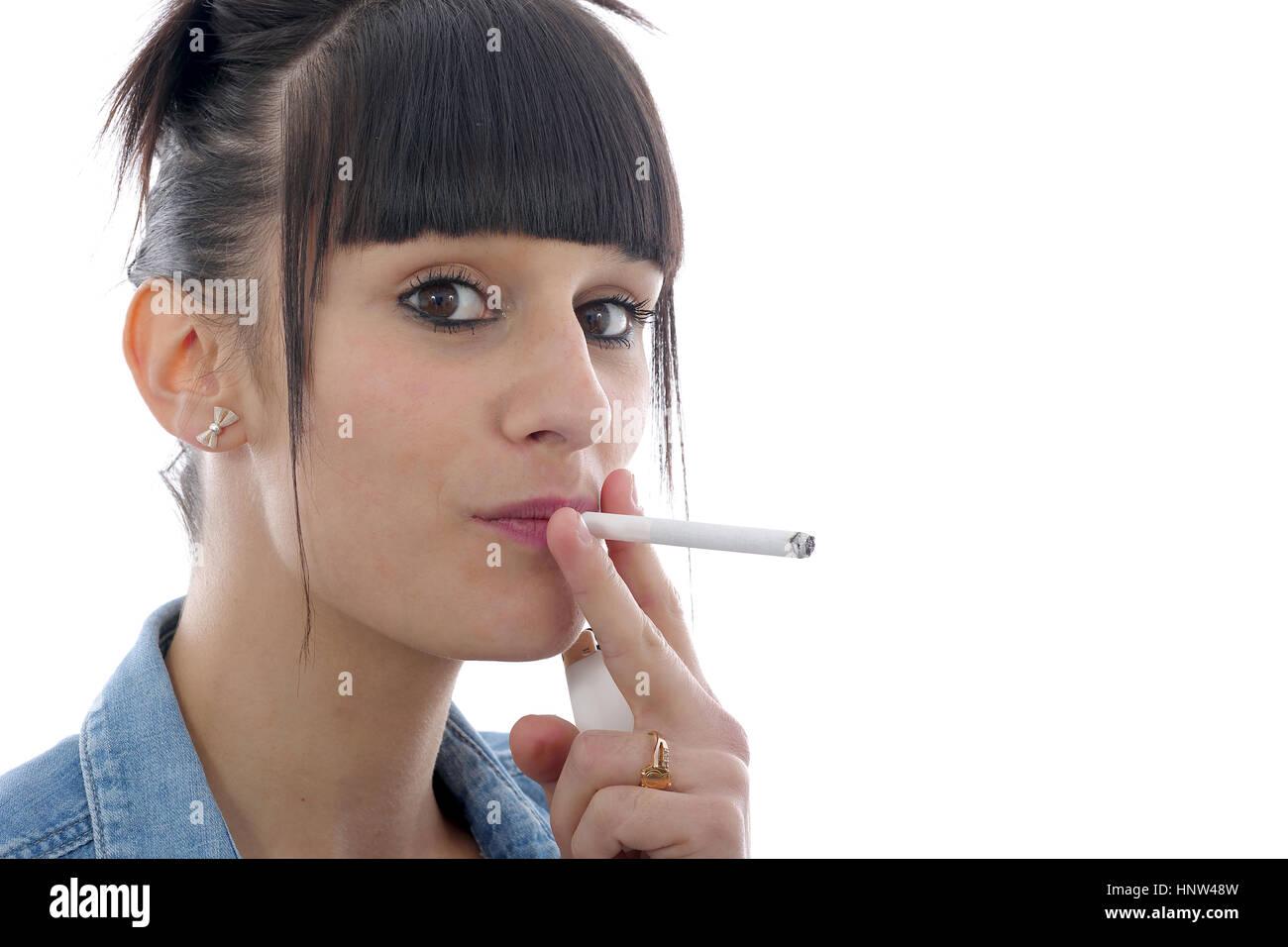 pretty woman smoking cigarettes