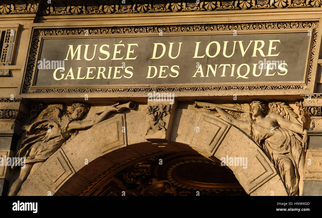 sign on the stone work outside the Musee du Louvre, Galeries des Antiques on the banks of the River Seine in Paris - Stock Image