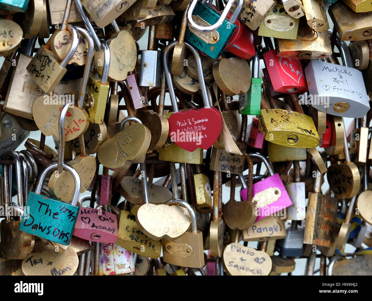 14/02/2017. Valentines Day, Love locks at the The Pont Neuf  in Paris, France. - Stock Image