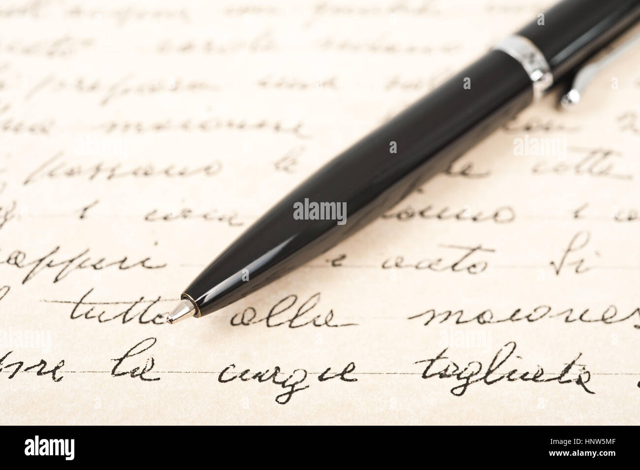 pen with hand written letter - Stock Image