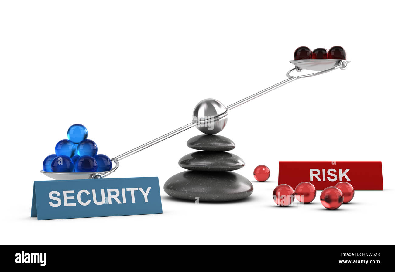 3D illustration of a seesaw containing balls with two words security and risk, Financial concept over white background - Stock Image