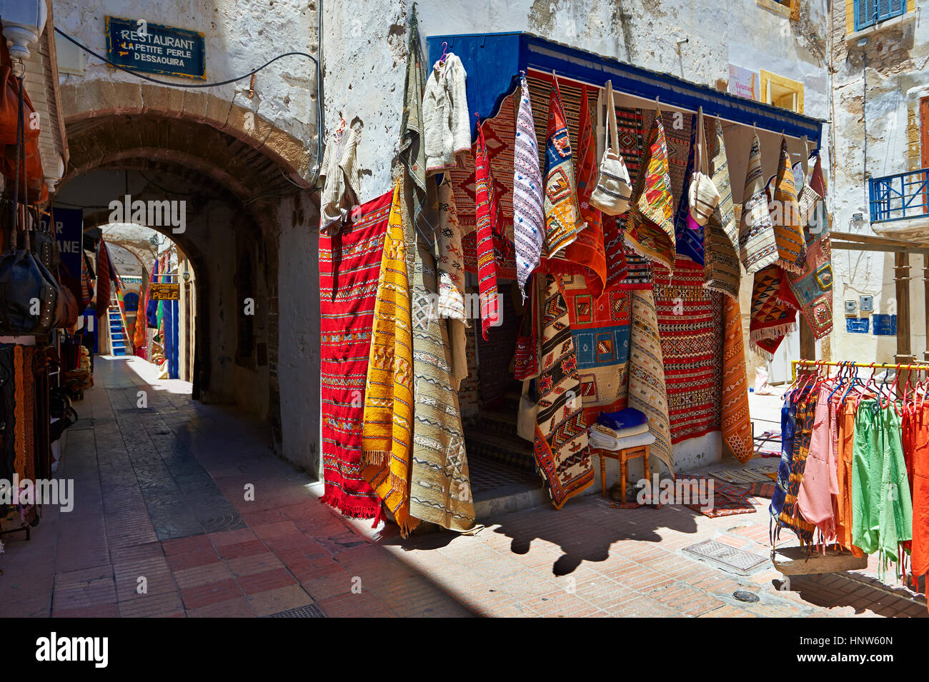 Traditional Berber shops in the medina of  Essaouira, Morocco Stock Photo
