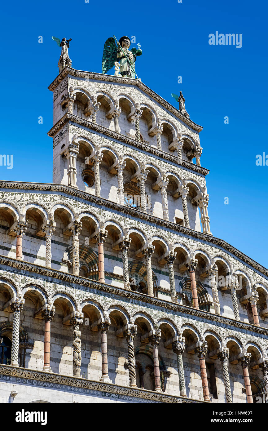 Facade of St Michele of the 13th century Romanesque facade of the San Michele in Foro,  Lucca, Tuscany, Italy - Stock Image