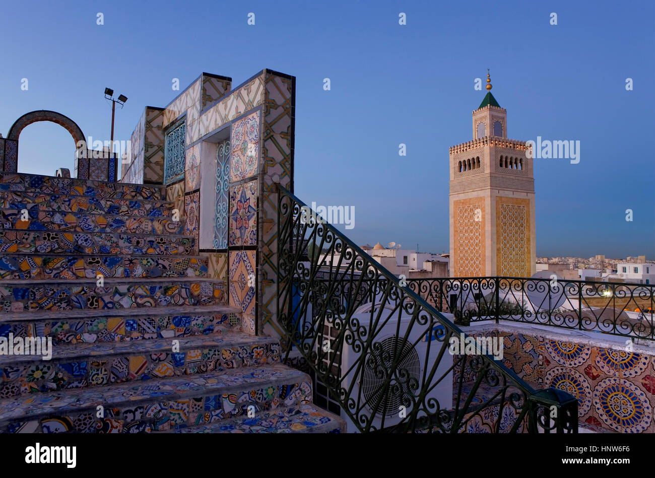 Tunisia: City of Tunis. Ez- Zitouna Mosque (Great Mosque) from a terrace of the medina - Stock Image