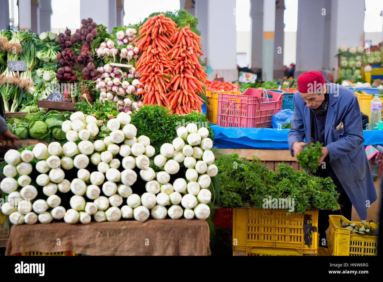 Tunisia: City of Tunis. Greengrocery, in Central Market - Stock Image