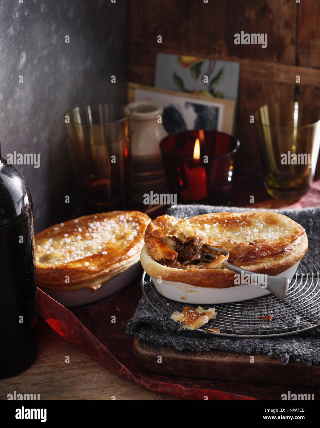Steak and kidney puff pastry pie - Stock Image