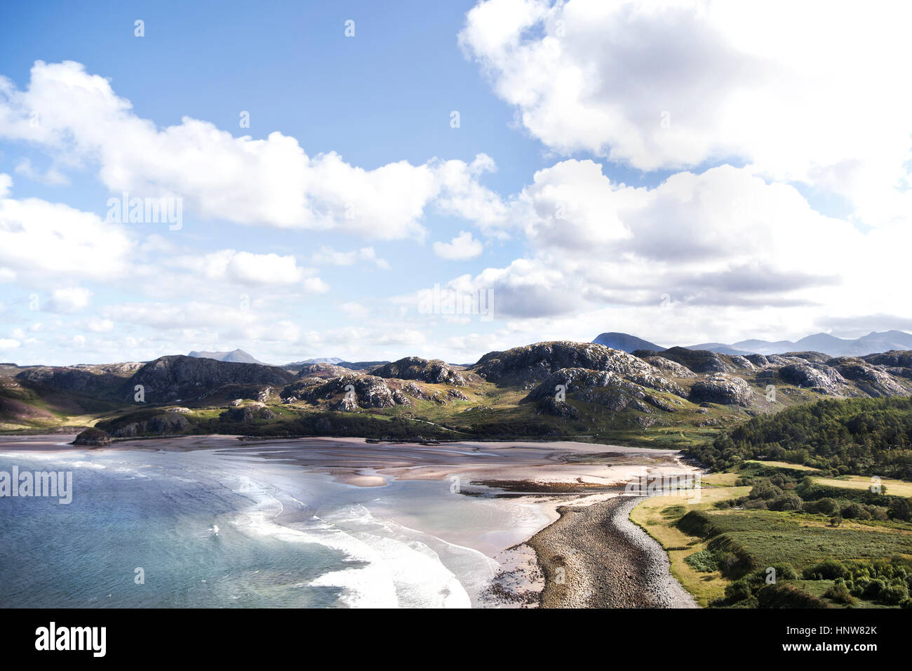 Elevated landscape view with sea and beach, Scotland, UK - Stock Image
