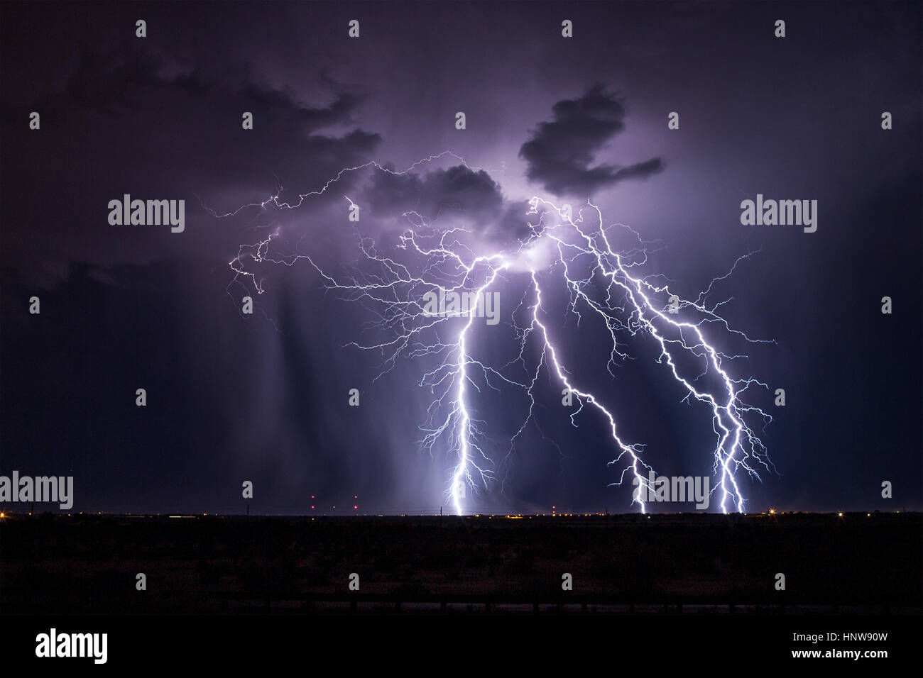 Lightning storm in Arizona - Stock Image
