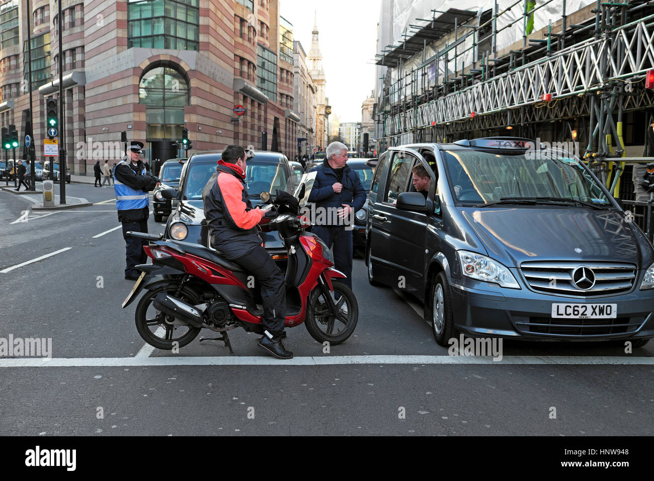 Taxi protest at Bank Station 20 January 2017 to object to City of London and TFL's  proposed restrictions to - Stock Image