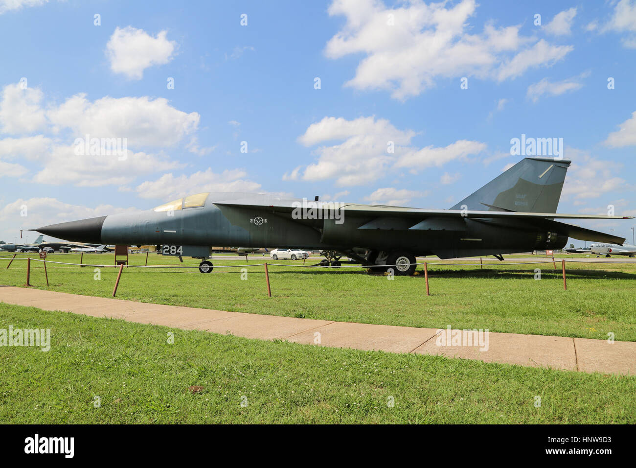 A General Dynamics F-111A on display at The Barksdale Global Power Museum, on Barksdale AFB, Louisiana - Stock Image
