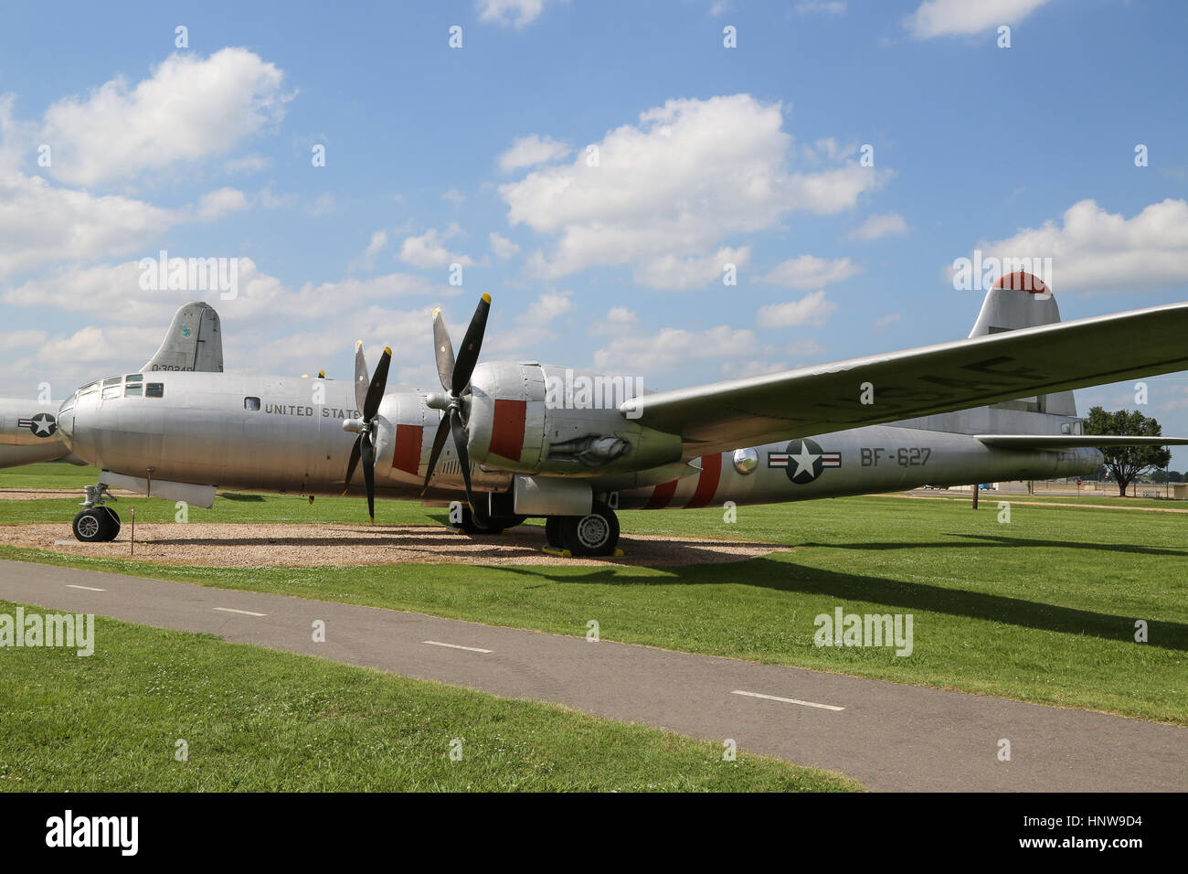 A Boeing B-29 Superfortress on display at The Barksdale Global Power Museum, on Barksdale AFB, Louisiana - Stock Image