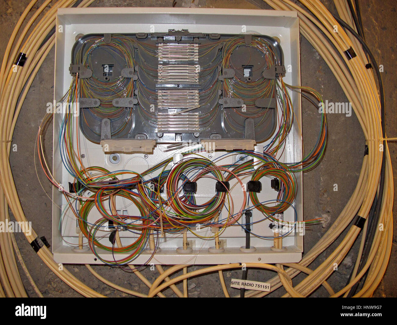 Optical fiber cable junction box, hi tech, internet, television, phone, Paris, France, Europe - Stock Image