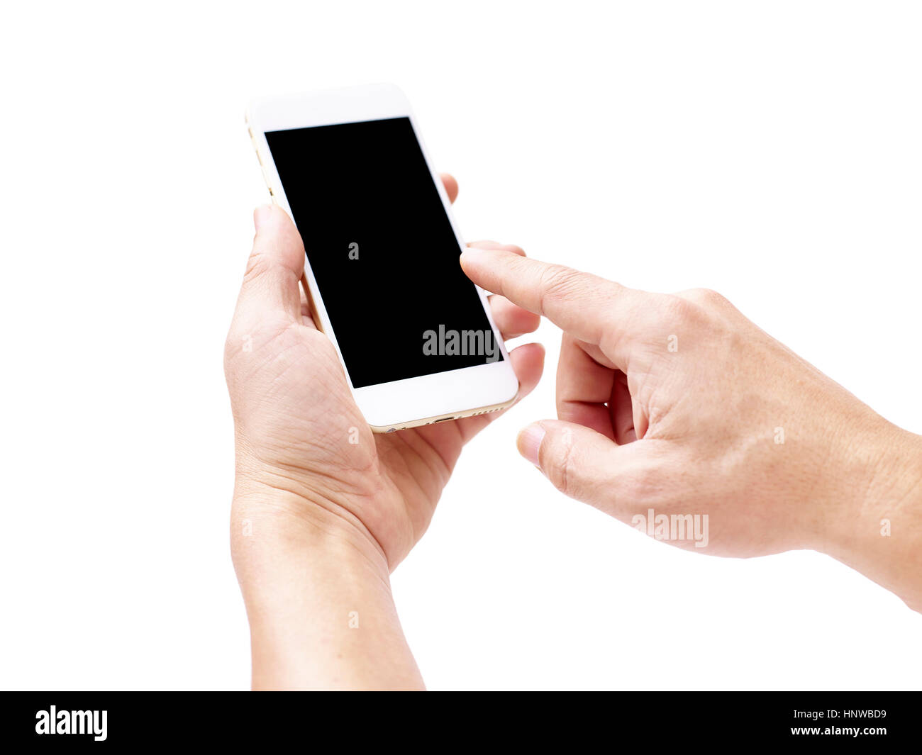 hand of a male holding a mobile phone with black blank screen, isolated on white background. - Stock Image