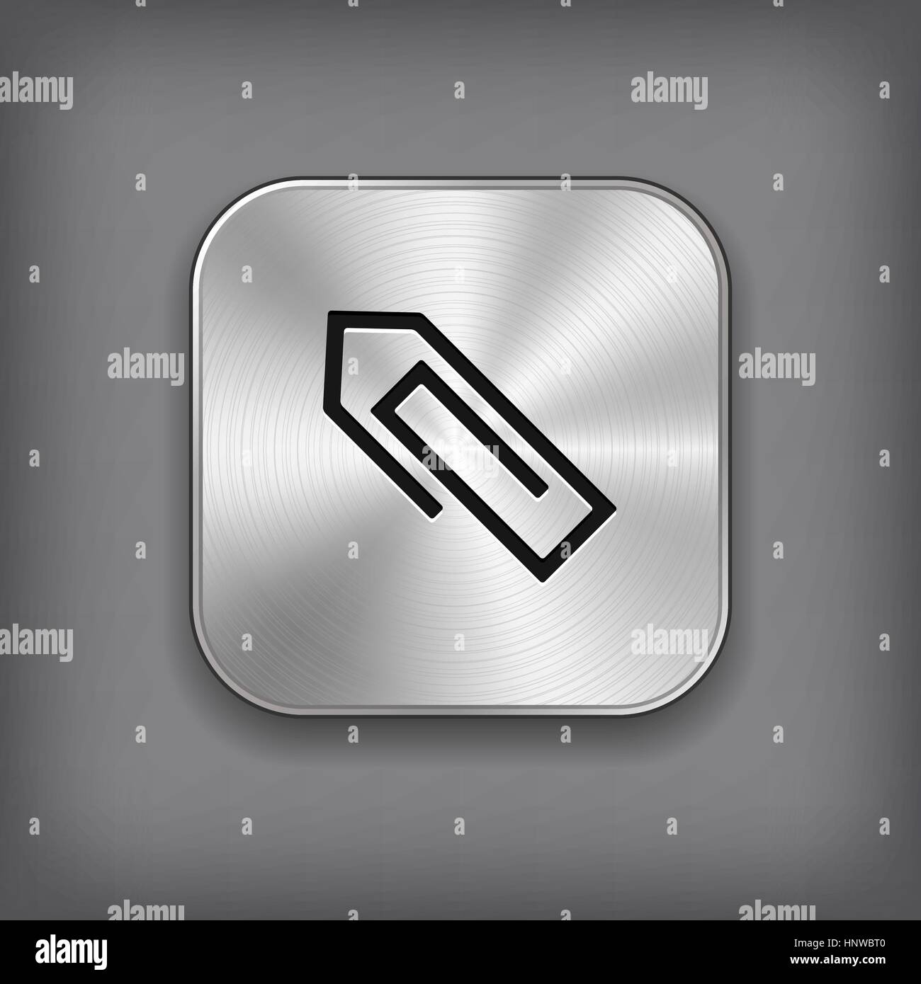 Paper clip icon - vector metal app button with shadow - Stock Vector