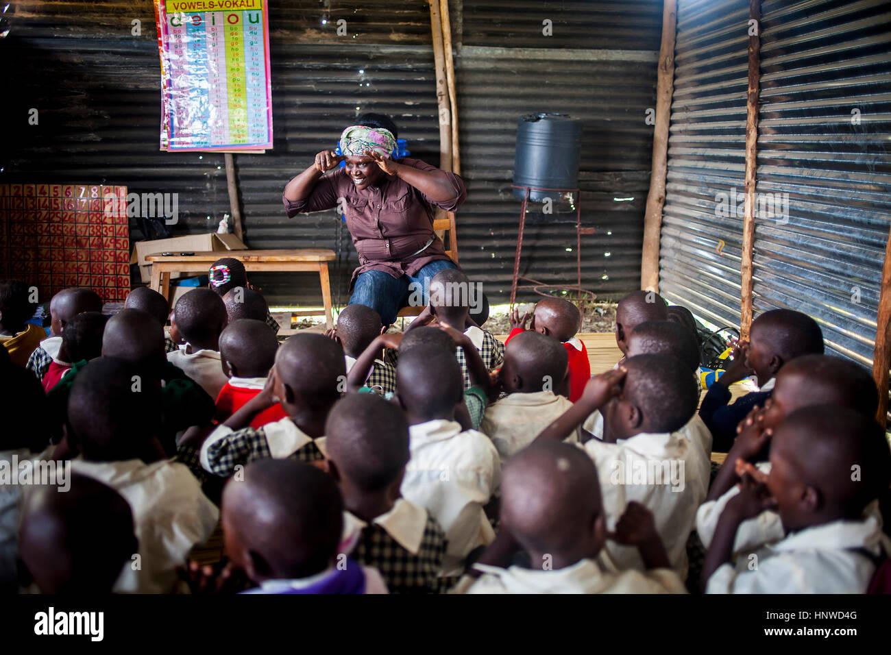 School, the fishing village of Litari, Rusinga Island, Lake Victoria, Kenya - Stock Image