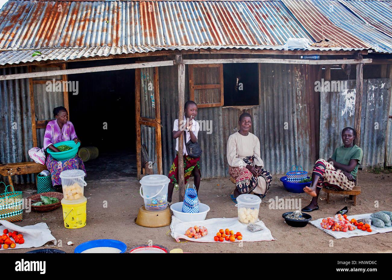 Greengrocery, in the fishing village of Kolunga, Rusinga Island, Lake Victoria, Kenya, Africa - Stock Image