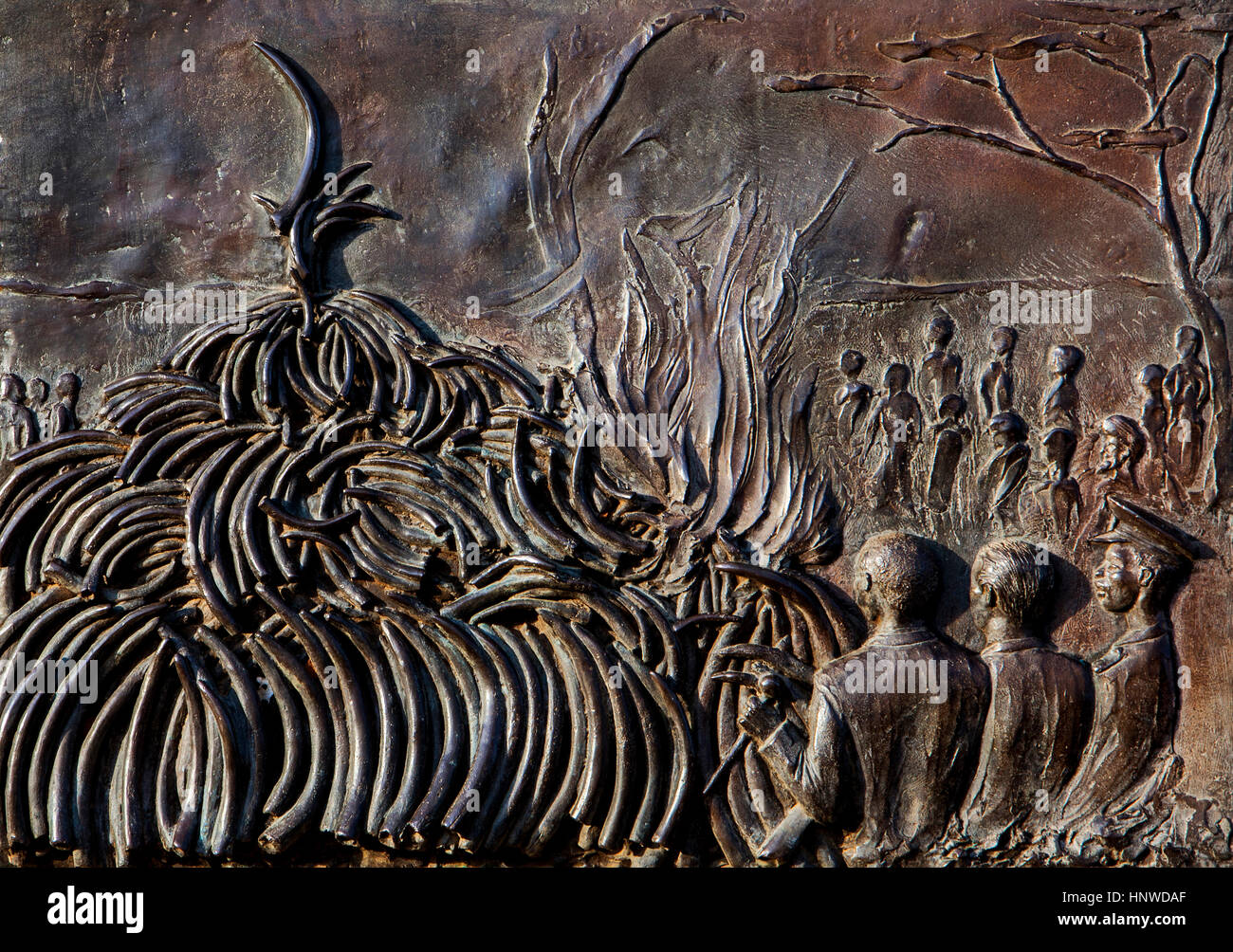 Detail, This monument which conmemorates the burning of 12 tons of ivory by H.E president Daniel T on July 18th - Stock Image