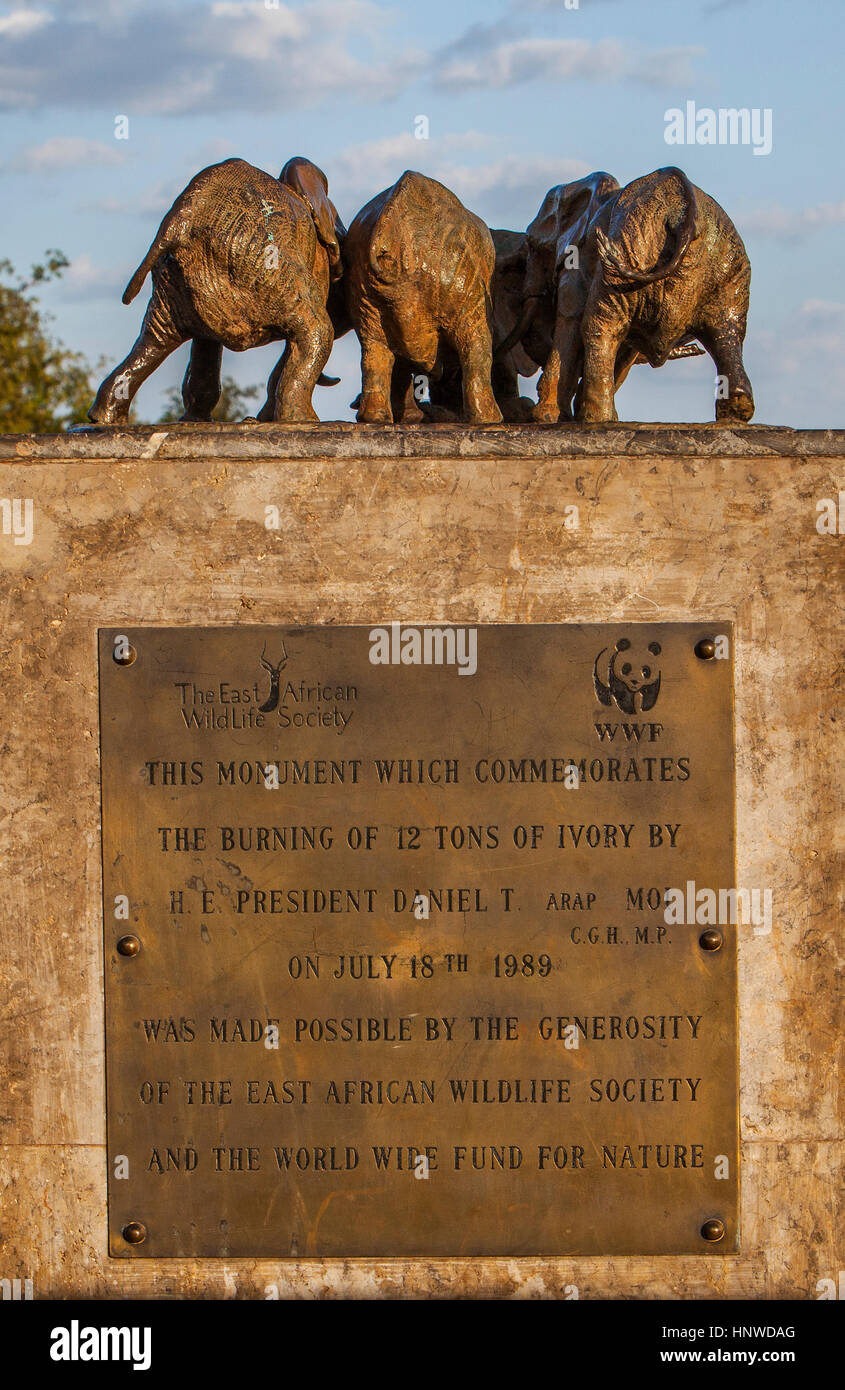 This monument which conmemorates the burning of 12 tons of ivory by H.E president Daniel T on July 18th 1989 .Nairobi, - Stock Image