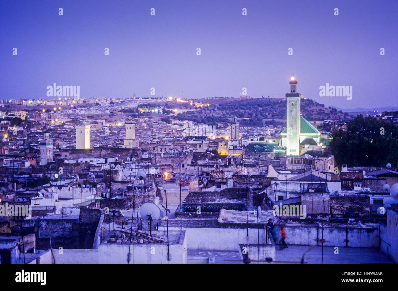skyline. Elevated view over the Medina, UNESCO World Heritage Site, Fez, Morocco, Africa. - Stock Image