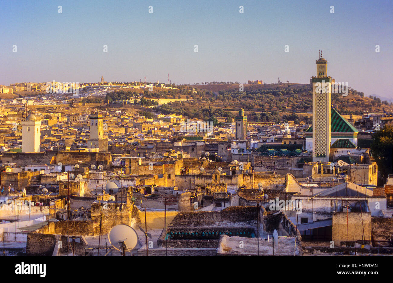 Sunset, skyline. Elevated view over the Medina, UNESCO World Heritage Site, Fez, Morocco, Africa. - Stock Image