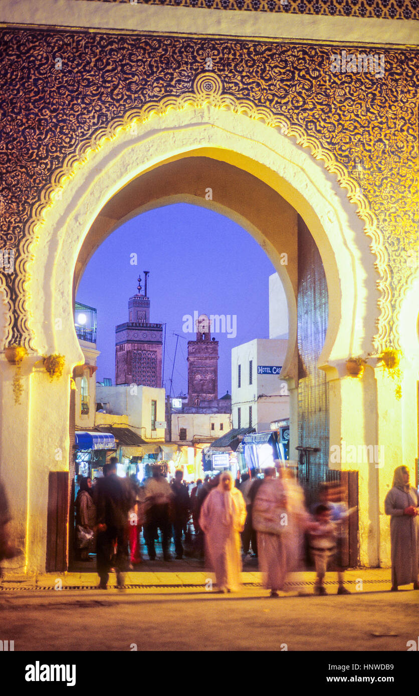 Bab Boujeloud, gateway through the town wall to the historic town centre or Medina, UNESCO World Heritage Site, - Stock Image