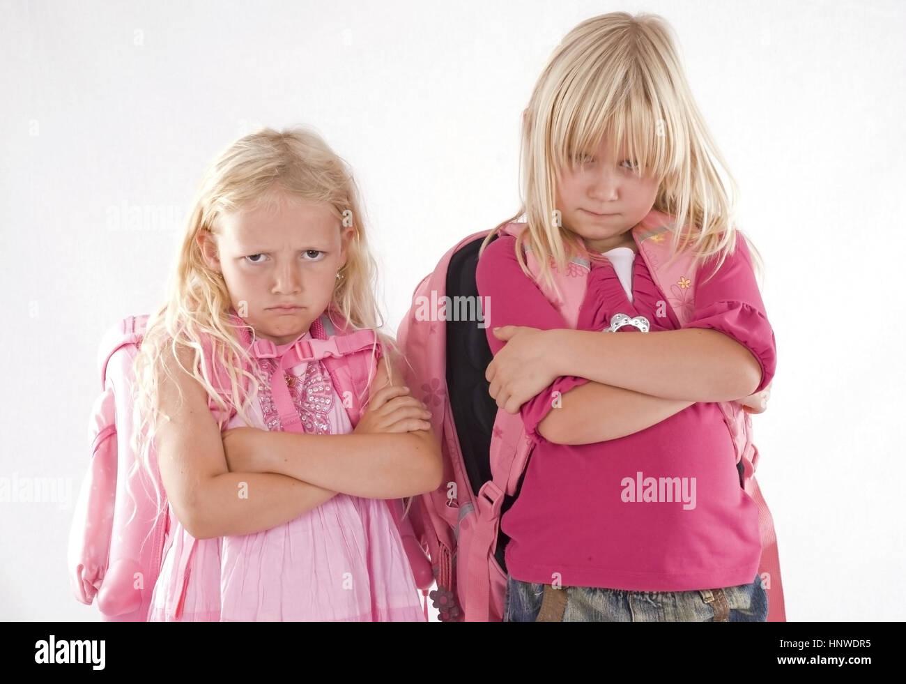 Model release, Maedchen moegen Schule nicht - girl don¥t like school Stock Photo