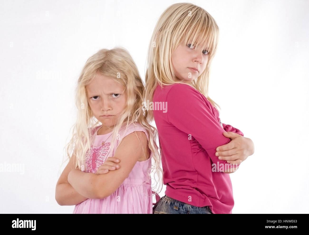 Model release, Zwei beleidigte Maedchen - two affronted girls Stock Photo