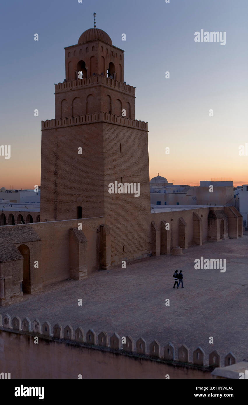 Tunez: Kairouan.The Great Mosque. Mosquee founded by Sidi Uqba in the VIth century is the most ancient place of Stock Photo