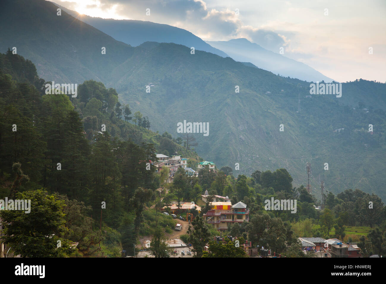 Sunrise over McLeodGanj, the residence town of Dalai Lama, Dharamsala, India. - Stock Image