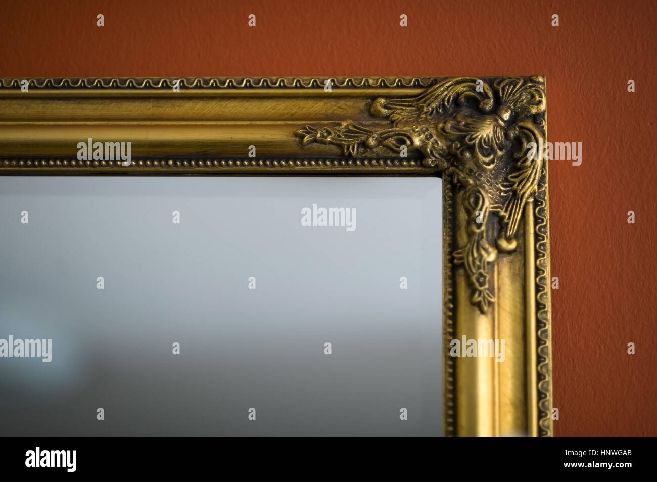 Spiegel Mit Goldrahmen Mirror With Gold Frame Stock Photo