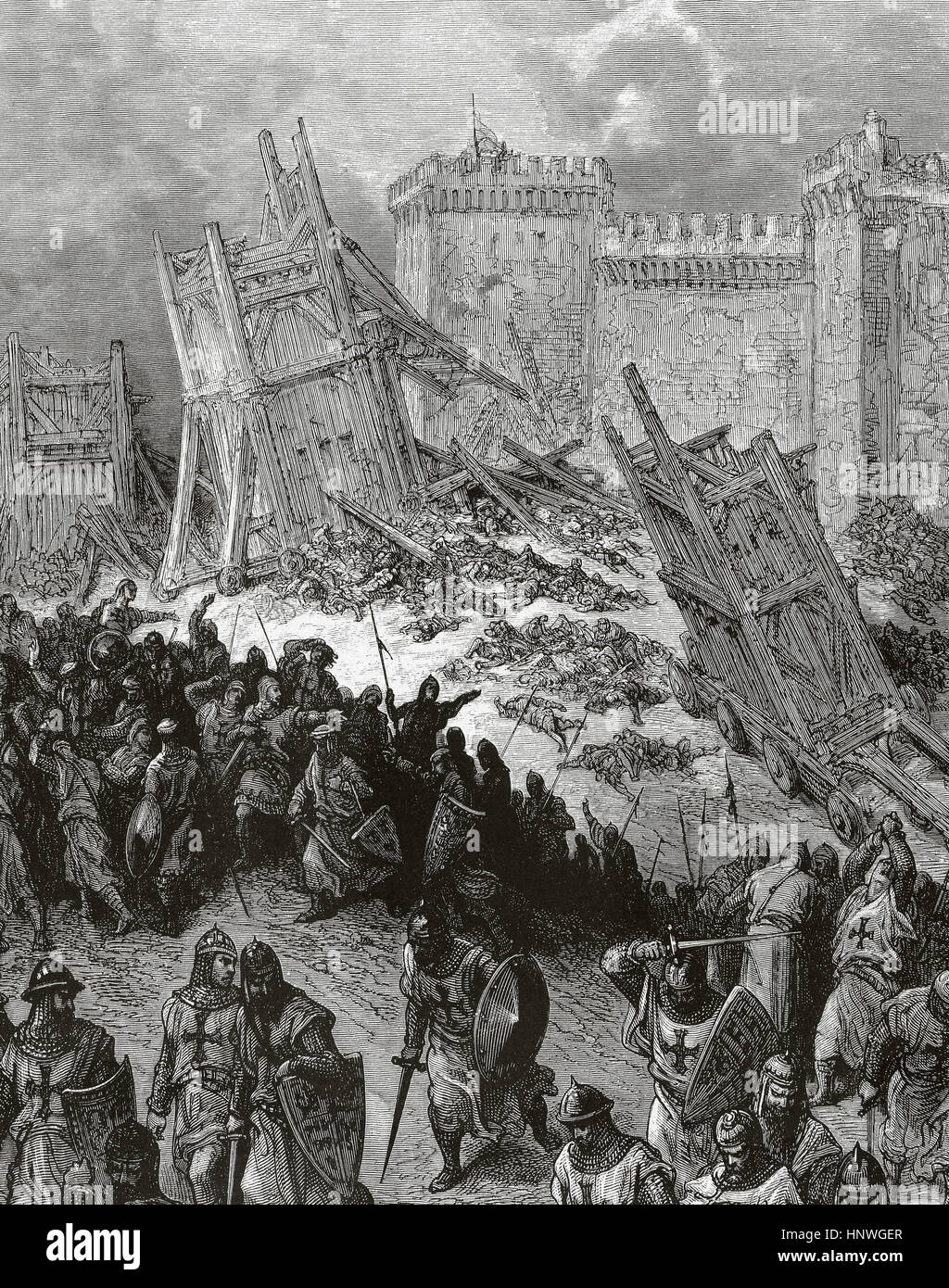 First Crusade (1096-1099). The siege of Antioch. It took place from 21 october, 1097 to 2 June, 1098. Engraving - Stock Image