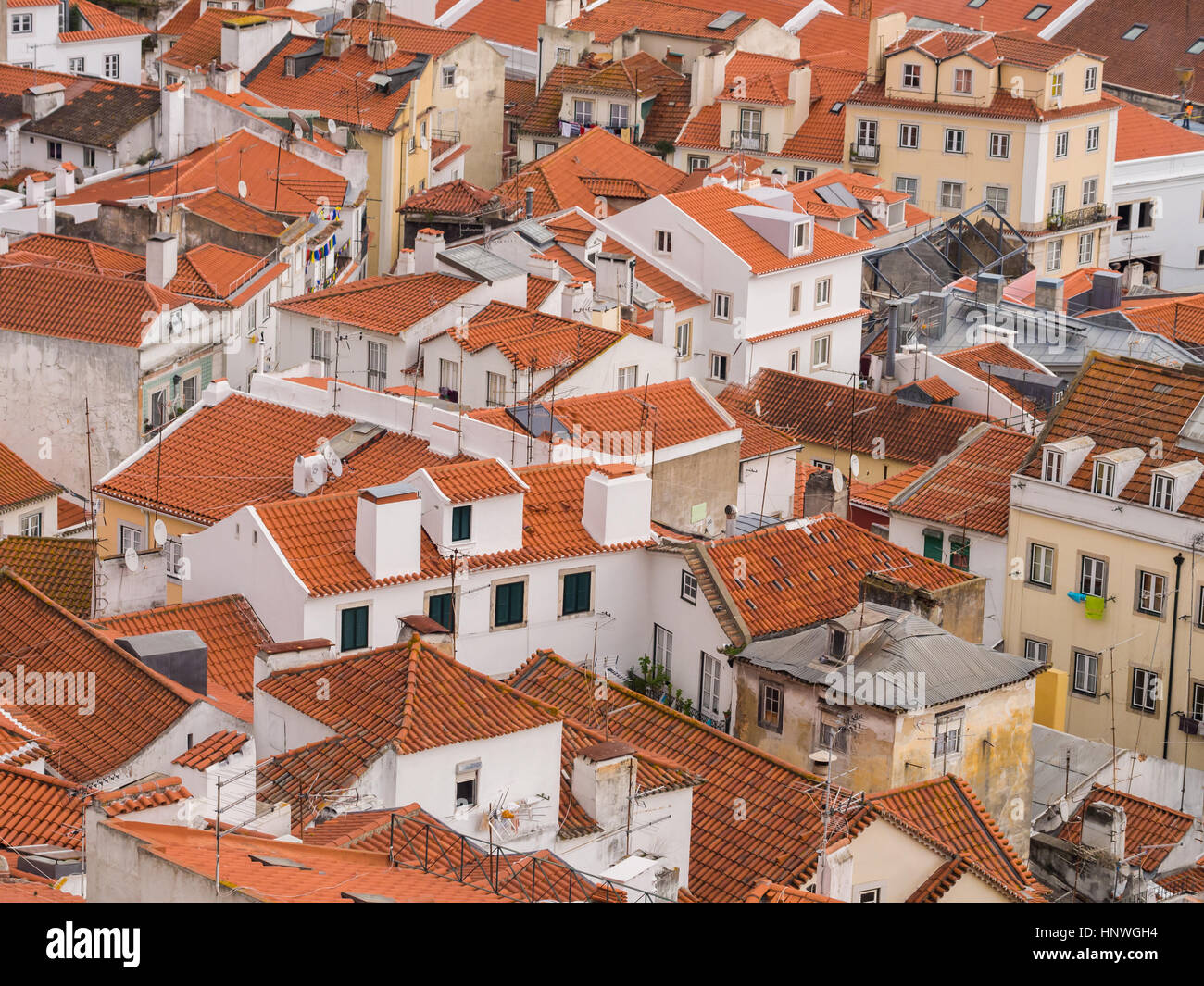 LISBON, PORTUGAL - JANUARY 10, 2017: Cityscape of Lisbon, Portugal, seen from Portas do Sol. - Stock Image