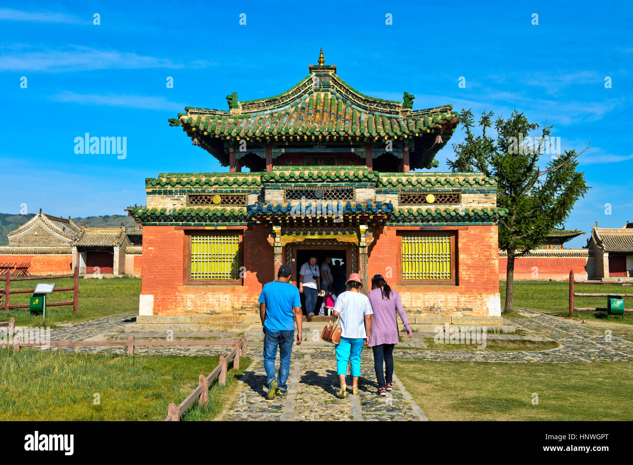 Visitors at the Temple of Dalai Lama at the Erdene Zuu monastery, Kharkhorin, World Heritage Site Orkhon Valley, - Stock Image