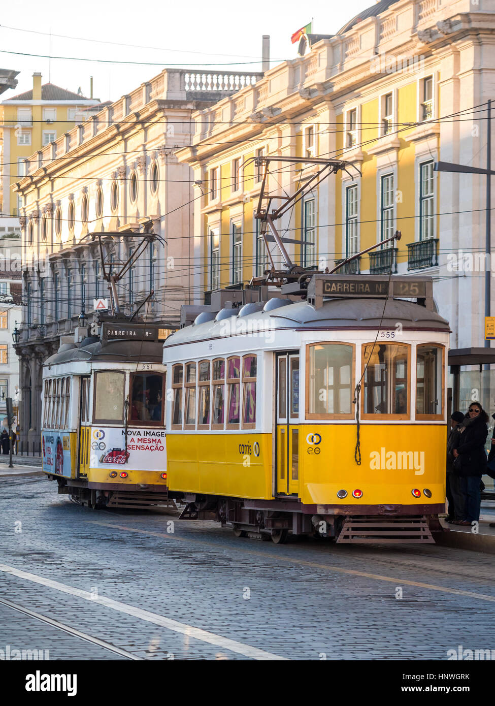LISBON, PORTUGAL - JANUARY 10, 2017: Old trams on the Praca do Comercio (Commerce Square) in Lisbon, Portugal. - Stock Image