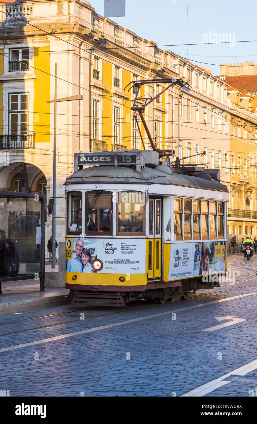LISBON, PORTUGAL - JANUARY 10, 2017: Old tram on the Praca do Comercio (Commerce Square) in Lisbon, Portugal. - Stock Image