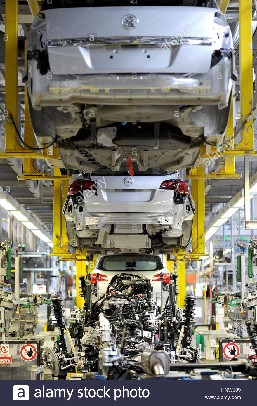 File photo dated 21/03/11 of the Vauxhall Astra production line at the Vauxhall Motors factory in Ellesmere Port, - Stock Image